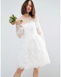 ASOS - Bridal Long Sleeve Lace Mini Dress - Lyst