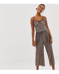 Miss Selfridge Wide Leg Jumpsuit In Bronze Sequin - Multicolour