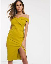 Vesper Желто-коричневое Платье-футляр Миди С Открытыми Плечами -желтый
