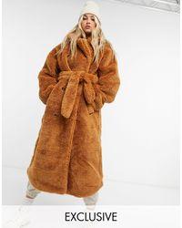 Collusion Удлиненное Плюшевое Пальто Табачного Цвета С Поясом -коричневый Цвет
