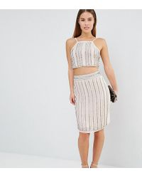True Decadence Embellished Midi Skirt Co-ord - Metallic