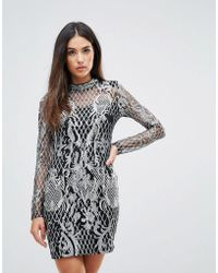 Club L - High Neck Sequin Embroidery Dress - Lyst