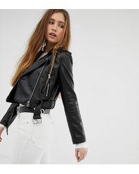 Bershka - Cropped Faux Leather Biker Jacket In Black - Lyst