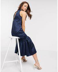 Closet Темно-синее Платье Миди А-силуэта -темно-синий