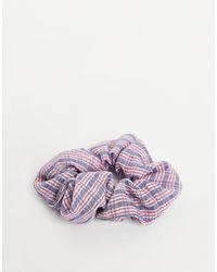 Pieces Geruite Scrunchie - Bruin
