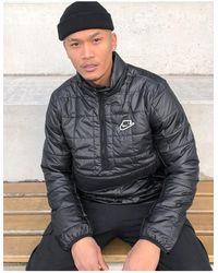Nike Half-zip Overhead Synthetic Fill Puffer Jacket - Black