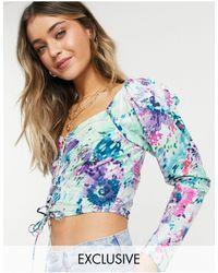 Reclaimed (vintage) Inspired - blouse effet corset à manches longues - fleuri - Bleu