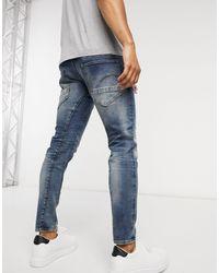 G-Star RAW D-Staq - Jean slim 3D - Délavage moyen effet usé - Bleu
