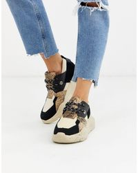 Ichi Snake Real Suede Panelled Chunky Platform Trainers - Multicolour