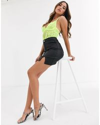 Missguided Super Stretch Coated Mini Skirt With Splits - Black
