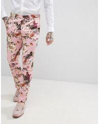 ASOS - Wedding Skinny Suit Trousers In Blush Floral Sateen Print - Lyst