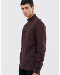 Fred Perry Half Zip Neck Ribbed Sweat In Burgundy - Red