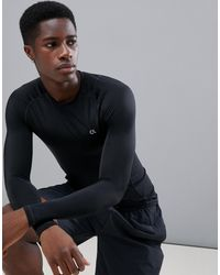 Calvin Klein Компрессионный Топ С Длинными Рукавами -черный - Синий