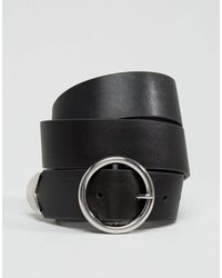 ASOS – Jeansgürtel mit spitzem Ende und runder Schnalle - Schwarz