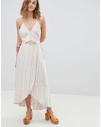 RahiCali Stripe Button Front Wrap Dress - White