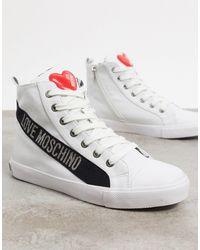 Love Moschino Белые Высокие Кроссовки С Логотипом -белый