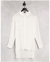 South Beach Кремовая Пляжная Рубашка Свободного Кроя От Комплекта -белый
