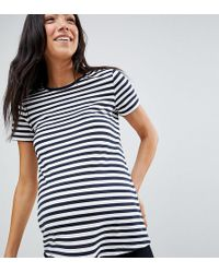 ASOS - Asos Design Maternity Ultimate T-shirt With Crew Neck In Stripe - Lyst