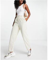 Pieces Paperbag Waist Straight Leg Cord Trousers - Multicolour