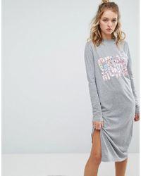 Cheap Monday - Block Floral Long Sleeve T Shirt Dress - Lyst