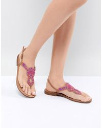 Pieces - Leather Embellished Flat Sandal - Lyst