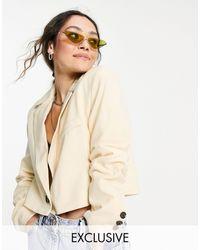 Reclaimed (vintage) Inspired Cropped Blazer - White