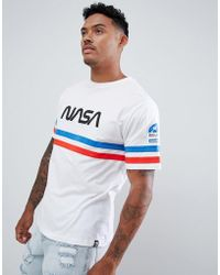 Pull&Bear - Nasa T-shirt In White With Stripes - Lyst
