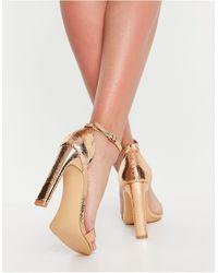 Glamorous - Легкие Босоножки На Каблуке Цвета Розового Золота С Задником -золотистый - Lyst