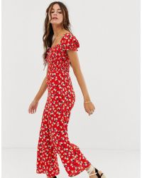 46254c278bb Faithfull The Brand - Faithfull Della Floral Jumpsuit With Puff Sleeves -  Lyst