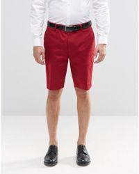 ASOS - Skinny Mid Length Tailored Shorts In Red - Lyst