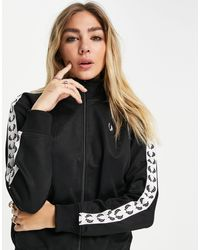 Fred Perry Branded Taped Track Jacket - Black