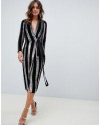 ASOS - Wrap Midi Dress In Velvet Stripe Sequin - Lyst