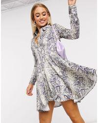 UNIQUE21 High Low Hem Shirt Dress - Multicolour