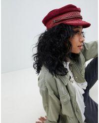 Brixton - Baker Boy Hat In Burgundy Cord - Lyst