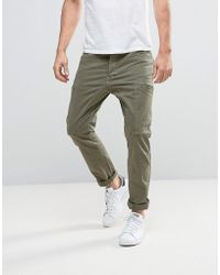 Esprit Cargo Trouser With Multi Pockets In Slim Fit - Green