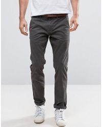 Esprit Slim Fit Chino With Belt - Grey
