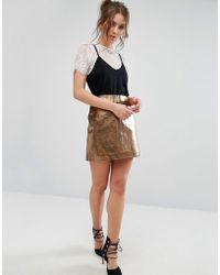 Warehouse - Metallic Mini Skirt - Lyst