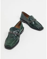 ASOS Marsh Leather Chain Loafers - Green