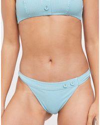 & Other Stories Striped Crinkle Bikini Mini Briefs - Blue