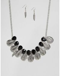 Ruby Rocks - Feather Detail Necklace And Earring Set - Lyst