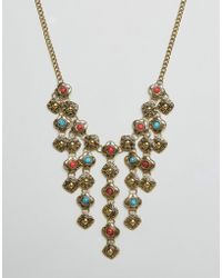 Ruby Rocks - Statement Drop Detail Necklace - Lyst