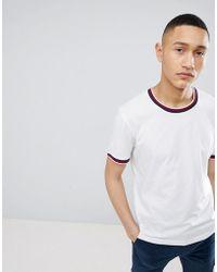 Mango - Man Striped T-shirt In White - Lyst