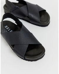 SELECTED Femme - Sandales épaisses en cuir à brides croisées - Noir