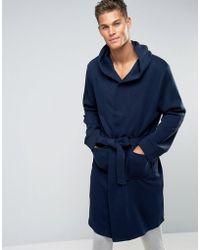 New Look - Fleece Dressing Gown In Navy - Lyst