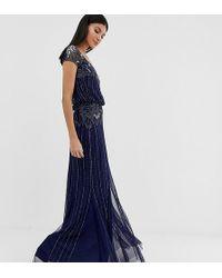Amelia Rose Baroque Embellished Cap Sleeve Maxi Dress In Navy - Blue