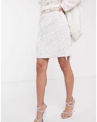 ASOS Beaded Fringe Mini Skirt - White