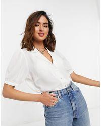 ONLY – e Bluse mit Puffärmeln - Weiß