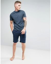 New Look - Pyjama Set With Check Shorts In Navy - Lyst