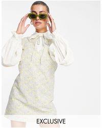 Lost Ink Vestito corto a strati con colletto e stampa a fiori rétro - Multicolore
