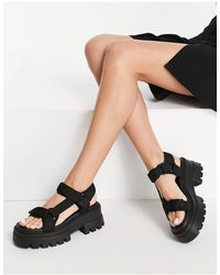 Pull&Bear Chunky Strappy Sandals - Black